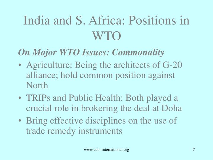 India and S. Africa: Positions in WTO