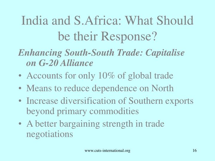 India and S.Africa: What Should be their Response?