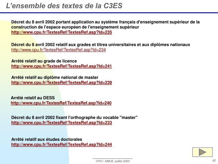 L'ensemble des textes de la C3ES