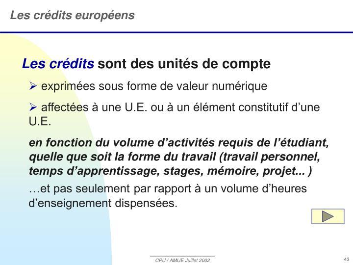 Les crédits européens