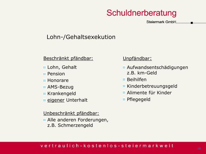 Lohn-/Gehaltsexekution