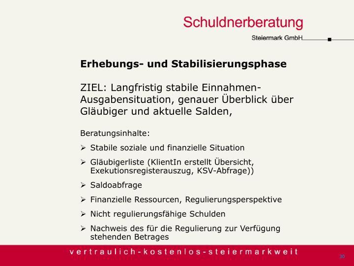 Erhebungs- und Stabilisierungsphase