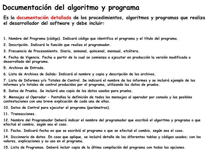 Documentación del algoritmo y programa