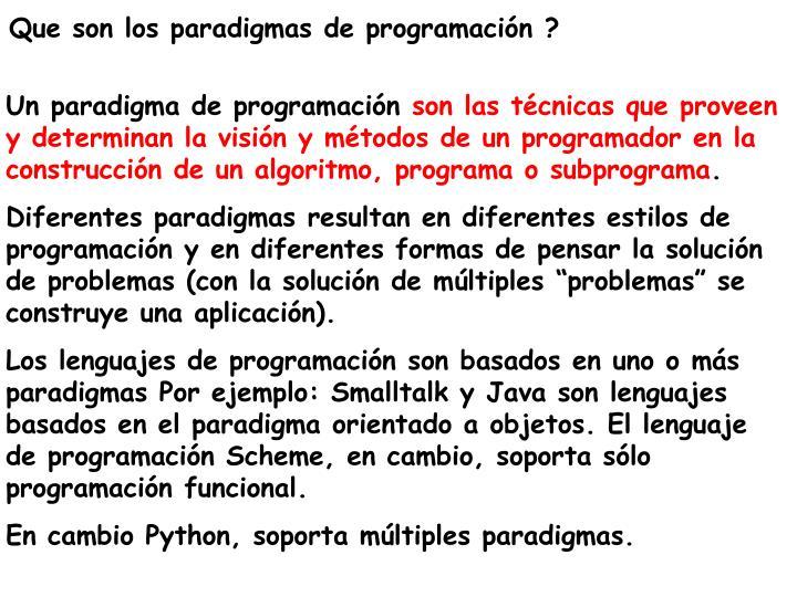 Que son los paradigmas de programación ?