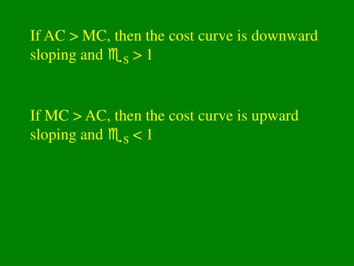 If AC > MC, then the cost curve is downward