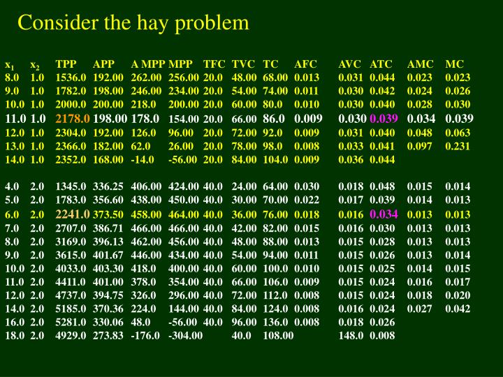 Consider the hay problem