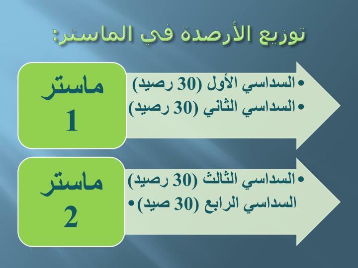 توزيع الأرصدة في الماستر: