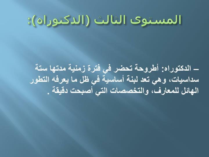 المستوى الثالث (الدكتوراه):