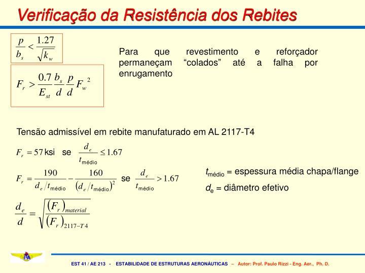 Verificação da Resistência dos Rebites