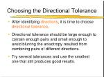 choosing the directional tolerance
