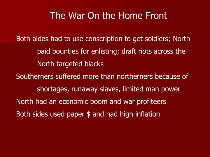 The War On the Home Front