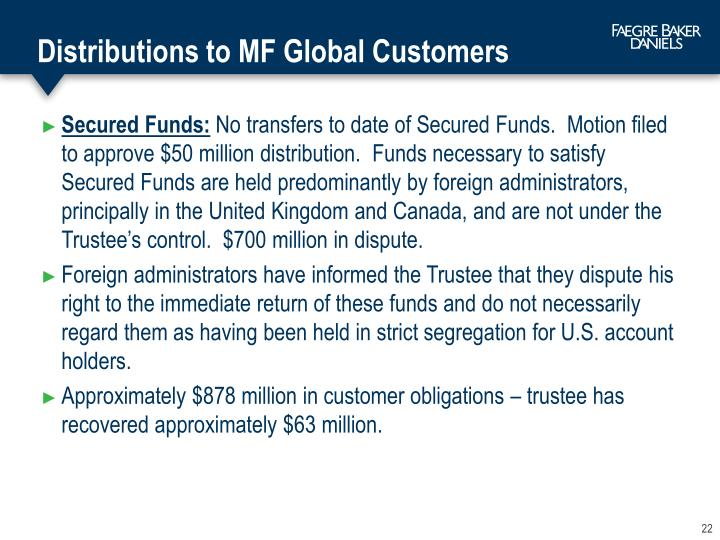 Distributions to MF Global Customers