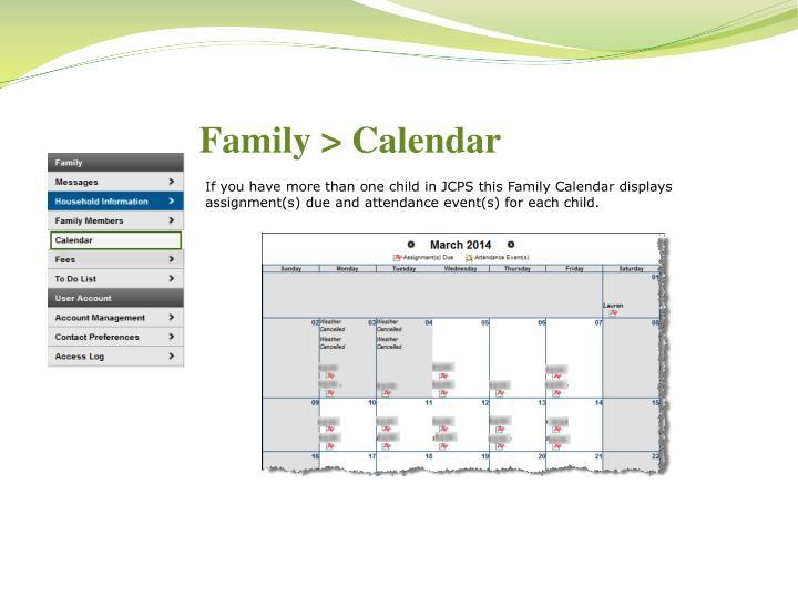Family > Calendar