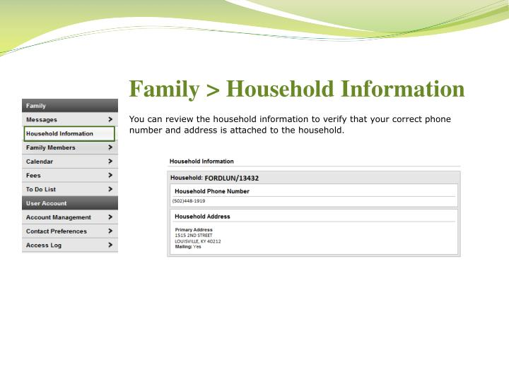Family > Household Information