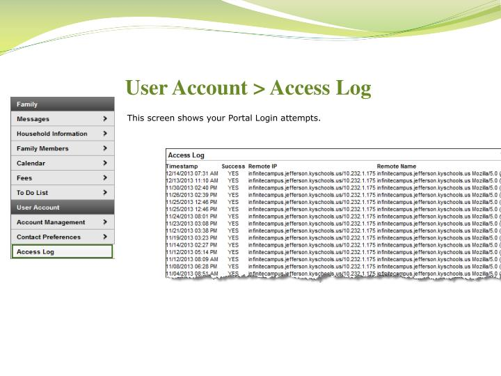 User Account > Access Log