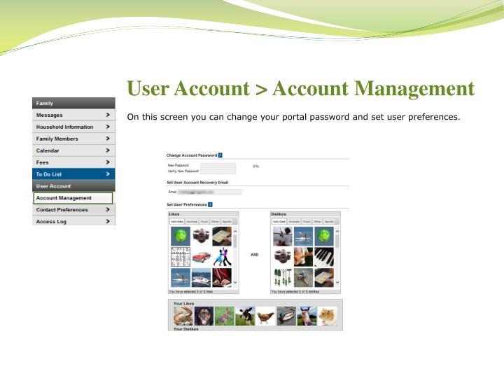 User Account > Account Management