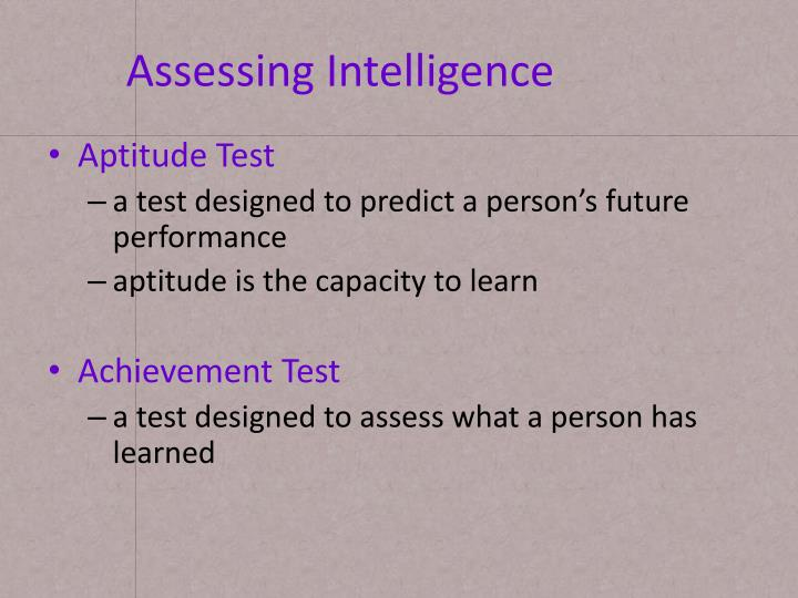 Assessing Intelligence