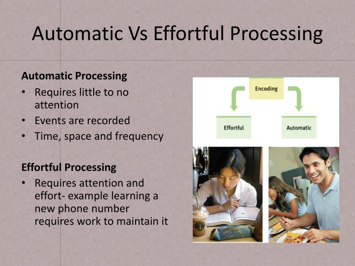 Automatic Vs Effortful Processing