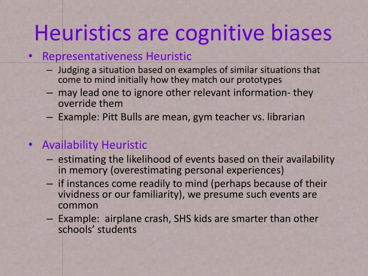 Heuristics are cognitive biases