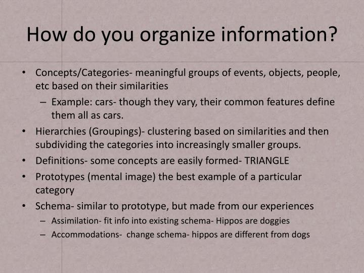 How do you organize information?