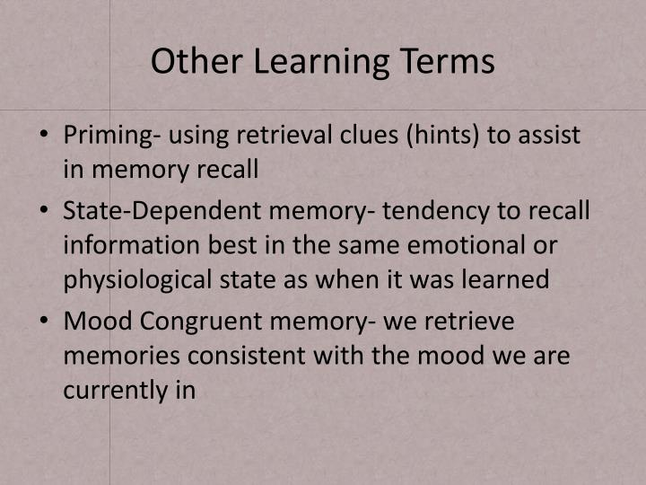 Other Learning Terms