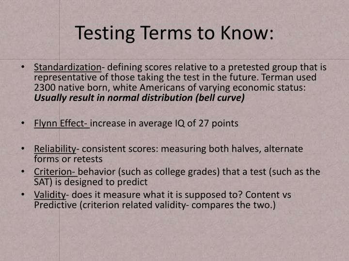 Testing Terms to Know: