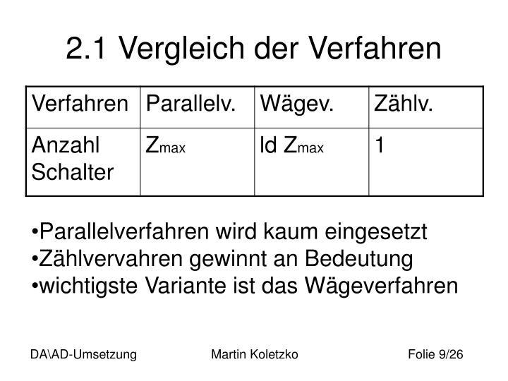 2.1 Vergleich der Verfahren