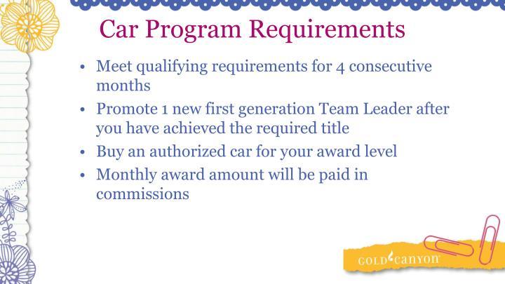 Car Program Requirements