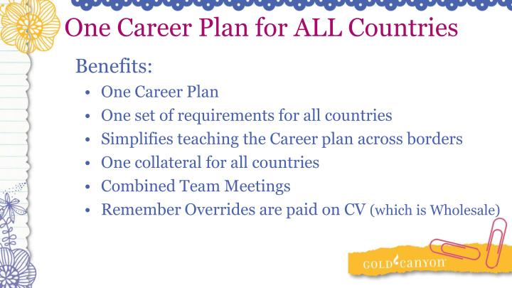 One Career Plan for ALL Countries