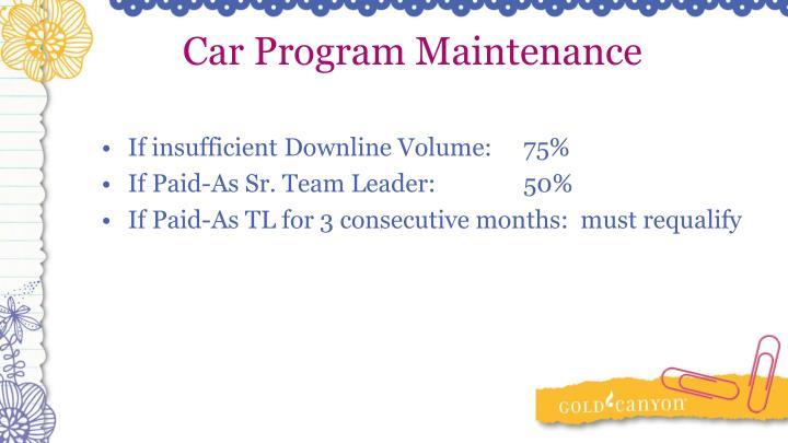 Car Program Maintenance