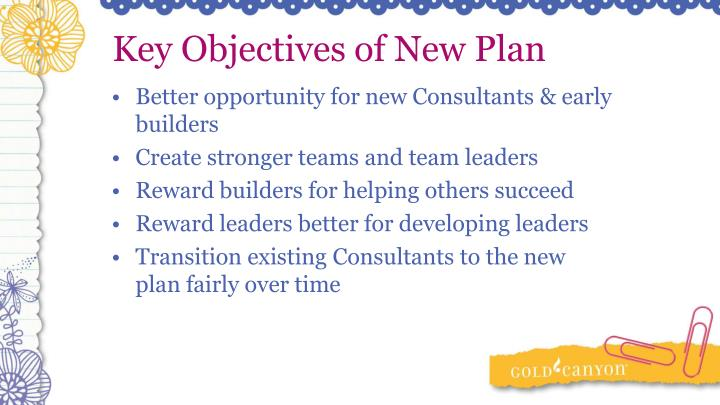 Key Objectives of New Plan