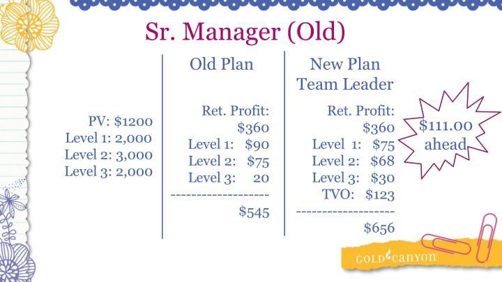 Sr. Manager (Old)