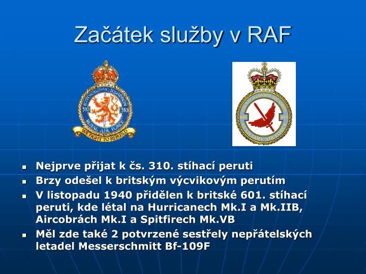 Začátek služby v RAF