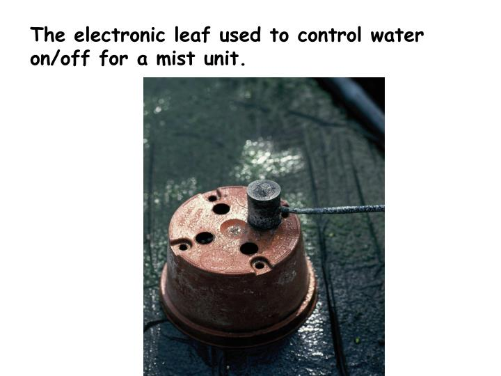 The electronic leaf used to control water on/off for a mist