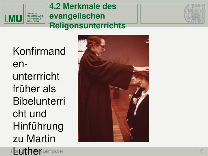 4.2 Merkmale des evangelischen Religonsunterrichts