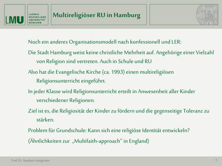 Multireligiöser RU in Hamburg