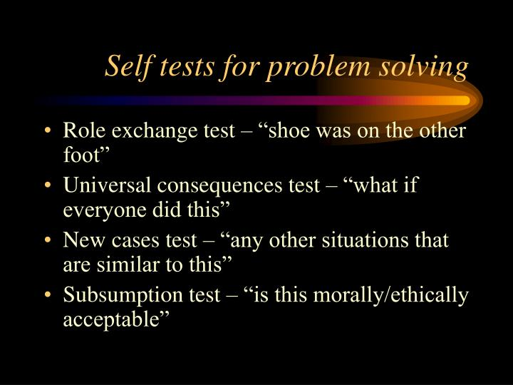 Self tests for problem solving