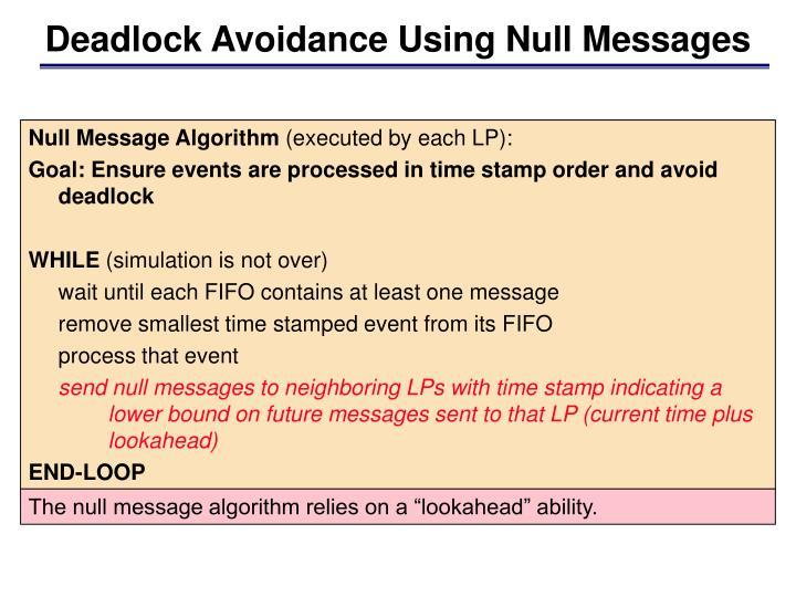 Deadlock Avoidance Using Null Messages