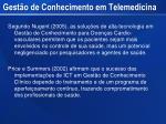 gest o de conhecimento em telemedicina1