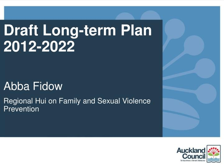 Draft Long-term Plan