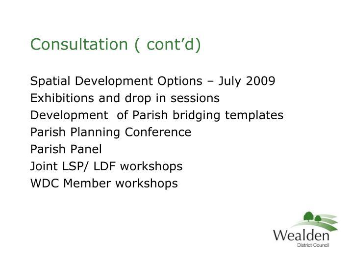 Consultation ( cont'd)