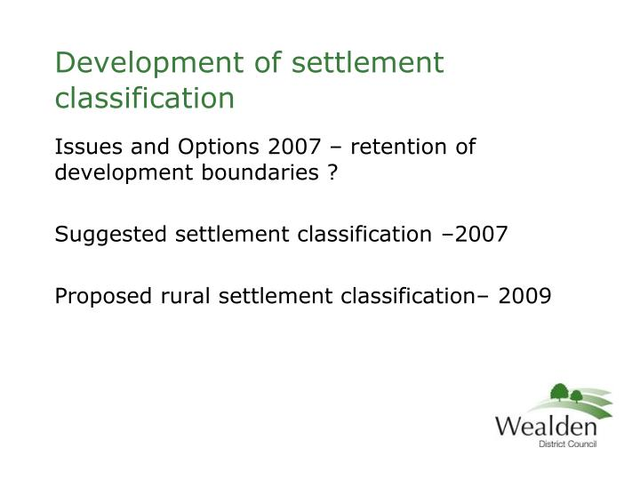 Development of settlement classification