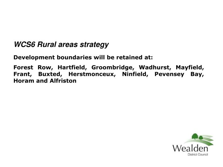 WCS6 Rural areas strategy