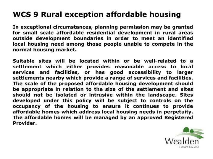 WCS 9 Rural exception affordable housing