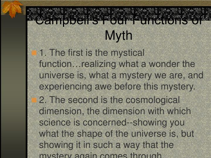 Campbell's Four Functions of Myth