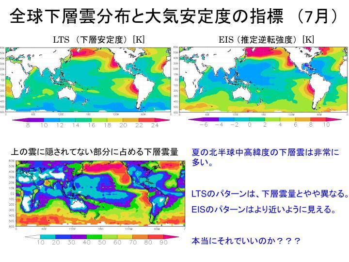 全球下層雲分布と大気安定度の指標 (