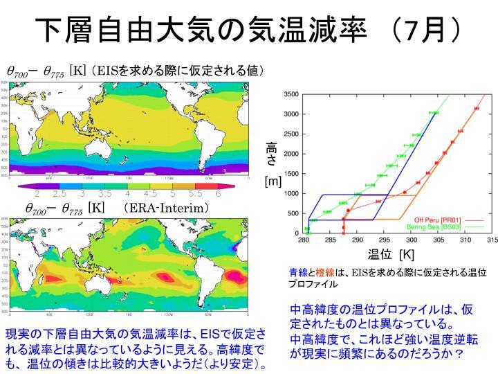 下層自由大気の気温減率 (