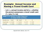 example annual income and having a travel credit card2
