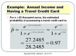 example annual income and having a travel credit card6