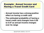 example annual income and having a travel credit card7